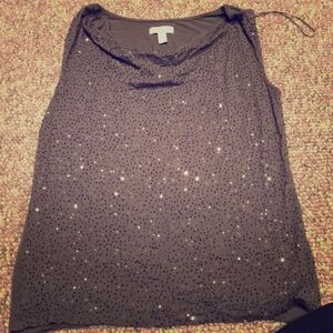 Gray Sequin top by Charter Club
